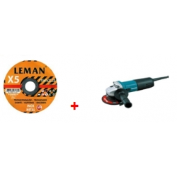 PACK MINI AMOLADORA MAKITA 720W + 100 DISCOS CORTE LEMAN 115X1MM
