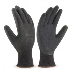 GUANTE DE NYLON COLOR NEGRO CON RECUBRIMIENTO DE LATEX (PACK 12 UDS)